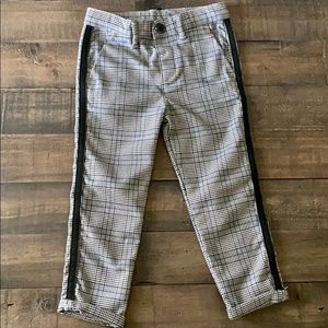 Boys gray check tape side trousers